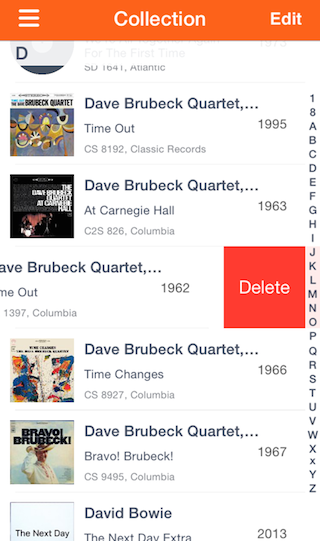 This app lets you search the Discogs database, scan barcodes on