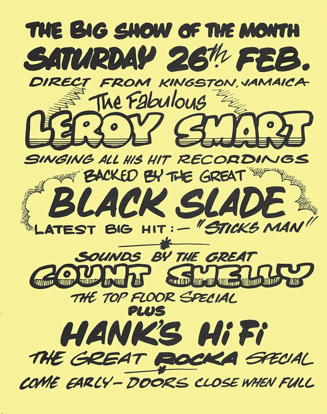 2. Flyer - Leroy Smart, Count Shelly, Hanks HiFi, Bamboo Club, 25 Feb 1977, courtesy Donovan Jackson collection