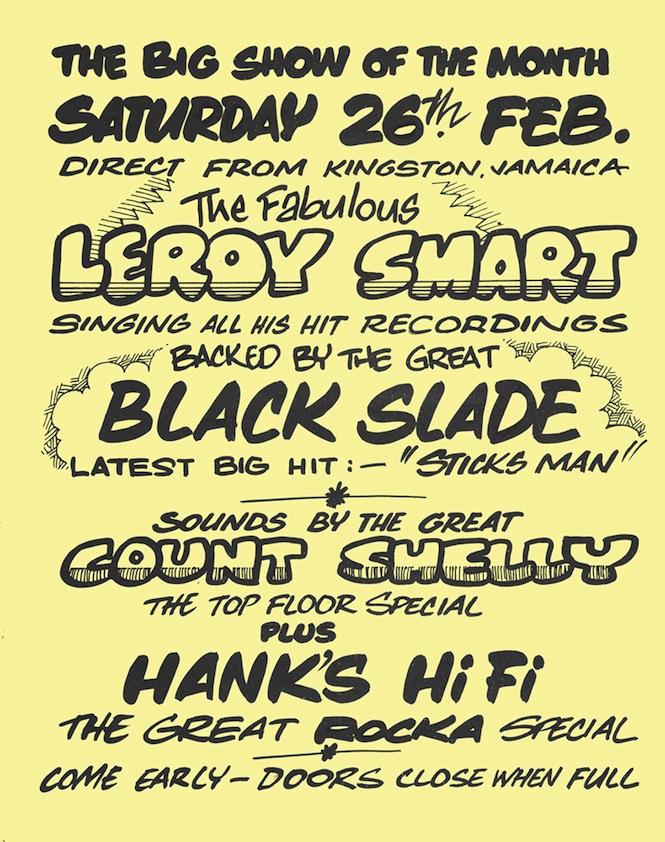 2. Flyer - Leroy Smart, Count Shelly, Hanks HiFi, Bamboo Club, 25 Feb 1977, courtesy Donovan Jackson collection